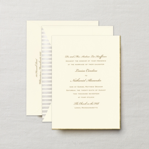 $16.32 Engraved Embassy Grace Invitation with Gold Bevel. From $6.38 | per card.  Call for price.