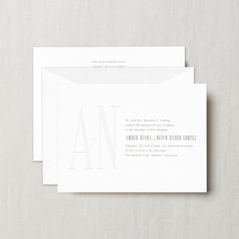 $24.44 Embassy Whitney Invitation with Blind Embossed Monogram.  From $5.00 | per card.  Call for price.