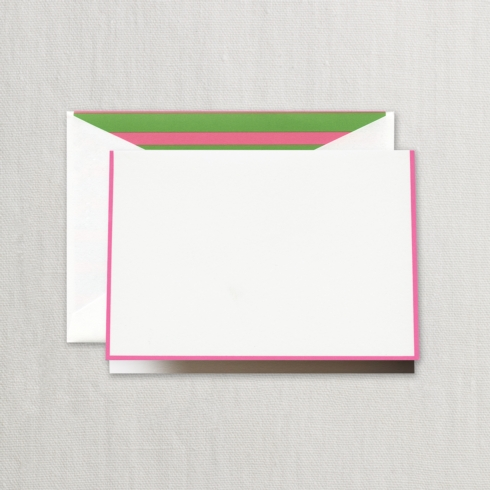 $20.00 Raspberry Bordered Note with Pink and Green Stripe Lining