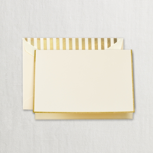 $20.00 Gold Bordered Ecru Note with Gold Stripe Lining