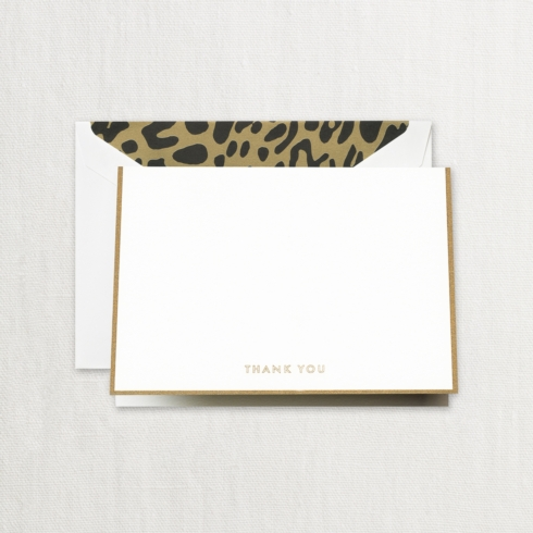 $20.00 Gold Bordered Thank You Note with Leopard Liner