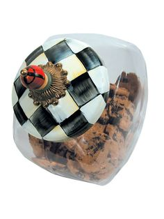 MacKenzie-Childs  Courtly Check COOKIE JAR WITH COURTLY CHECK LID - PLAID BEAD $56.00