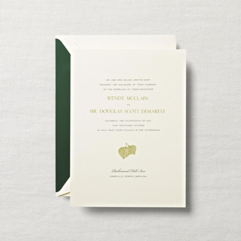 $10.60 Ecruwhite Embassy Wedding Invitation with Leaf Motif. From $2.42 | per card. Call for price.