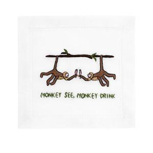 $40.00 Monkey See Monkey Do Cocktail Napkins set/4