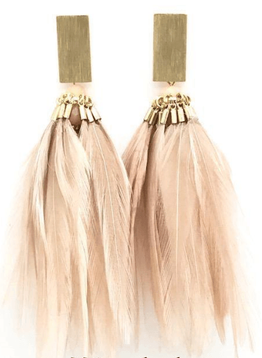 $80.00 Gold Feathers Earrings