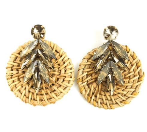 $50.00 Jeweled Rattan Chocolate Earrings