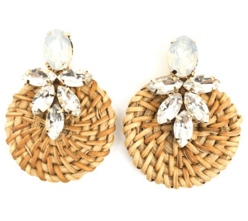 $54.00 Jeweled Rattan Crystal Clear Earrings