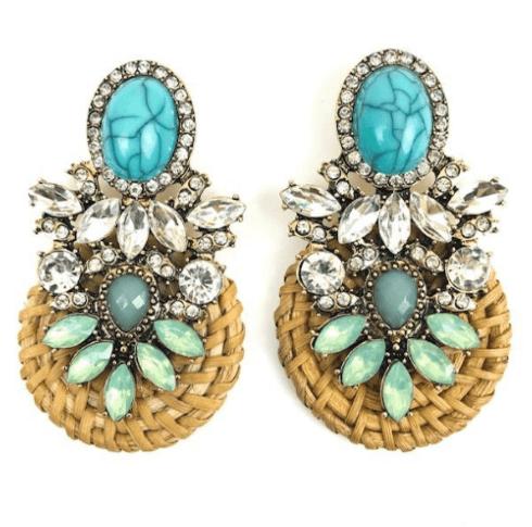 $60.00 Jeweled Rattan Turquoise Earrings