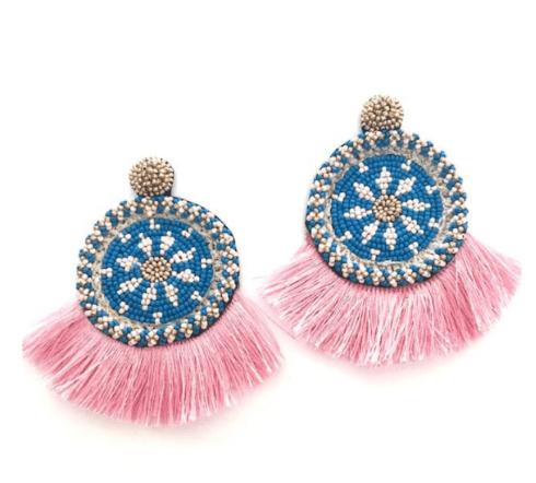 $72.00 Pink Statement Fringe Earrings