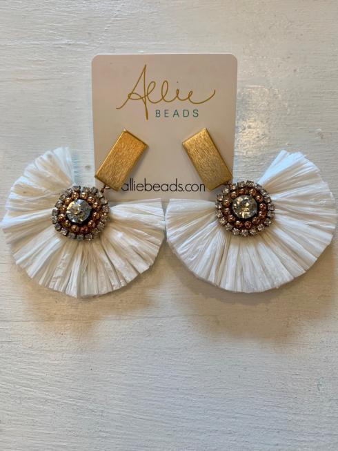 $68.00 Raffia Flower Earrings