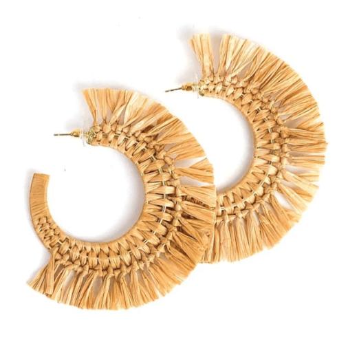 $45.00 Raffia Hoop Earrings