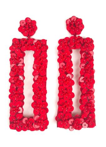 $68.00 Red Flower Bar Earrings