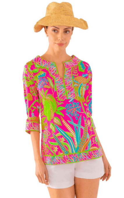 Split Neck Tunic in Hummingbird Heaven L collection with 1 products