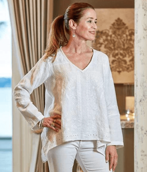$158.00 Emilie Embroidered Top M