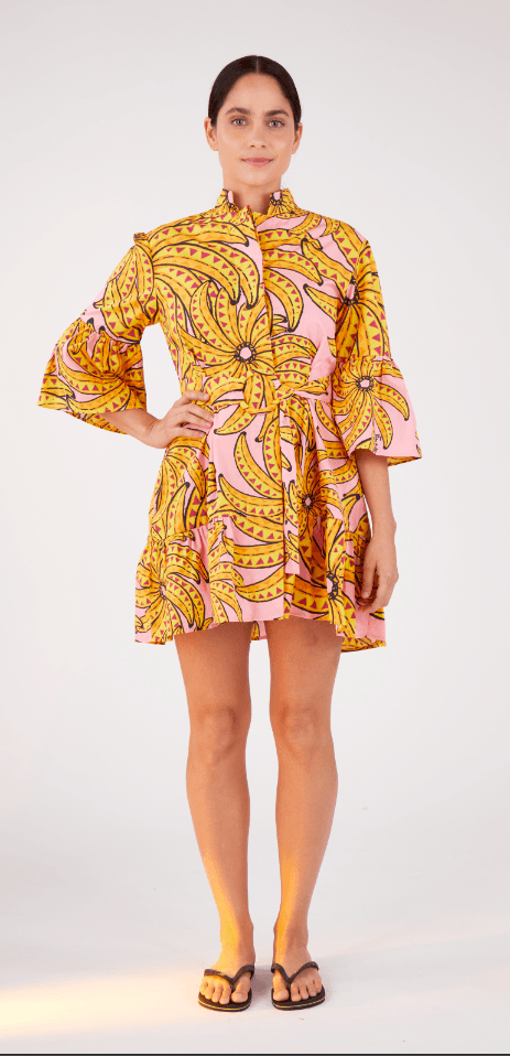 $155.00 Banana Floral Mini Dress L