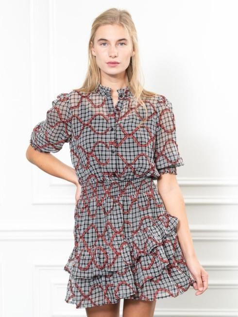 $79.00 The Tiered Mini Dress, Red Ribbon, S