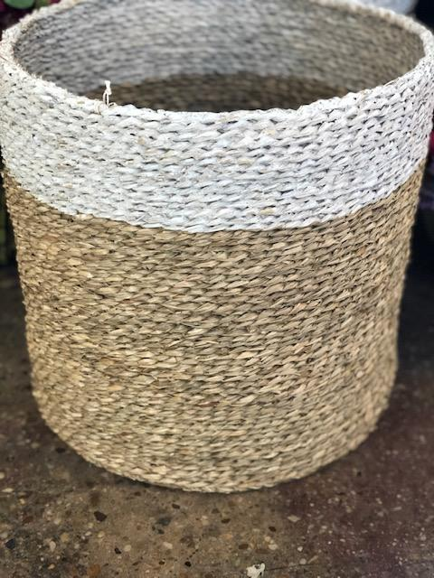 Large Seagrass Painted Basket