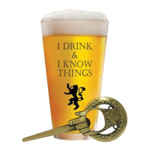 $4.00 I Drink and I Know Things Beer Glass