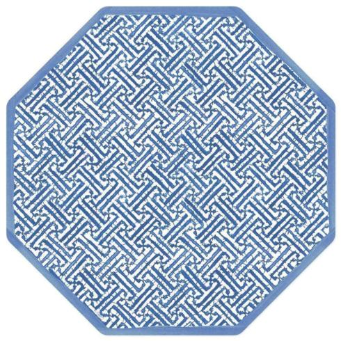 Blue & White Fretwork Octagonal Placemats, Set of 4