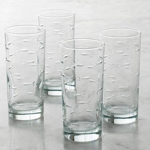 Rolf Glass   School of Fish - Set of 4 Highballs $42.50