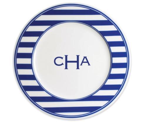 Timothy De Clue   Beach Towel Stripe Dinner Plate - Custom Monogram $40.00
