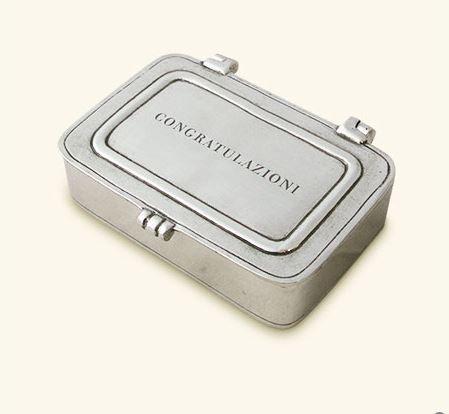 """$120.00 """"Congratulazioni"""" Pewter Box Small"""