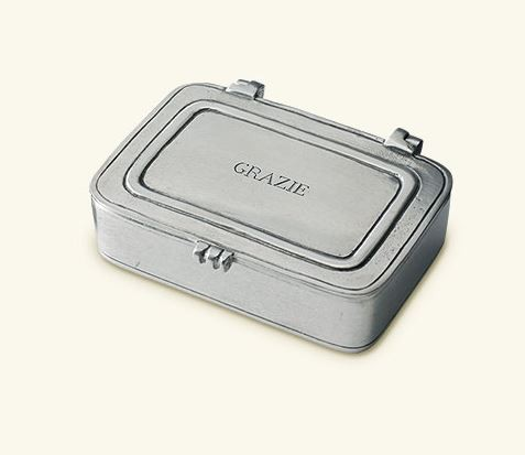 "$120.00 ""Grazie"" Pewter Box Small"