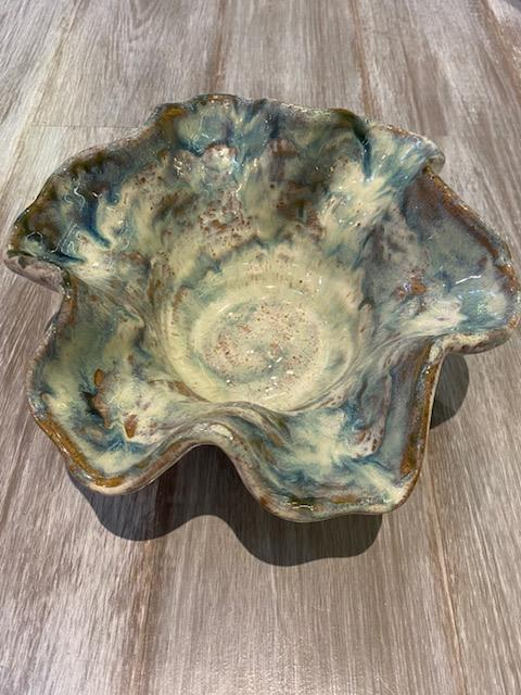 $75.00 Bowl Round Fluted Opal Blue