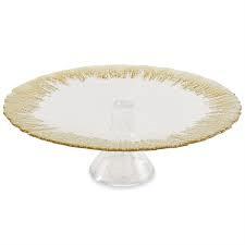 $42.00 Cake Pedistal Gold Edge