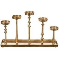 $137.00 Candle Holder 5 Branch Gold