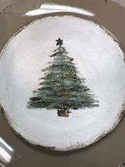 $50.50 Christmas Tree Plate White