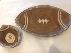Etta B Pottery   Platter Football Chocolate $92.50