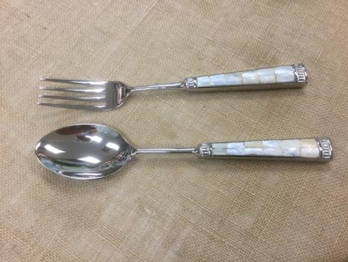 Primitive Artisan   Salad Server Set Mother of Pearl $39.50