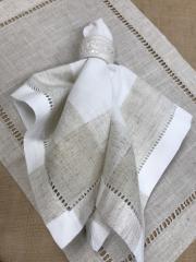 Saro Designs   Napkin Hemstich Beige & Ivory $11.00