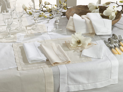 Napkin - Hemstitch Linen - White collection with 1 products