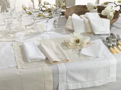 $13.00 Napkin - Hemstitch Linen - White