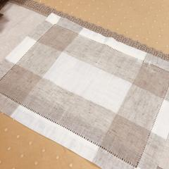 $12.00 Placemat Hemstitch Beige & White