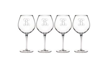 $60.00 Balloon Wine Glass w/monogram - set of 4