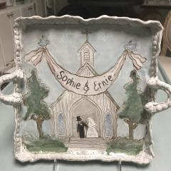 $125.00 Tray Church with Bride & Groom