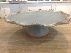 Etta B Pottery   Cake Stand Peaceful Waters $136.50