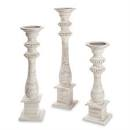 Wooden Candlestick Beaded Whitewash Lg collection with 1 products