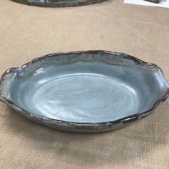 $77.00 Dish Oval Draping Hndls Peaceful Waters/Lapis