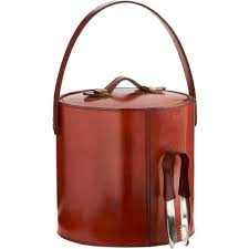 $218.50 Leather Ice Bucket with Tongs