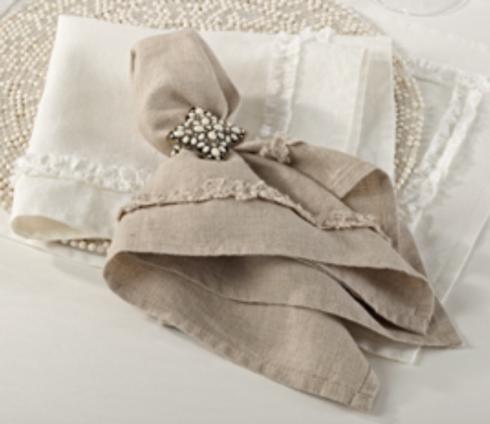 Saro Designs   Napkin Ruffle Design - Ivory  $14.00