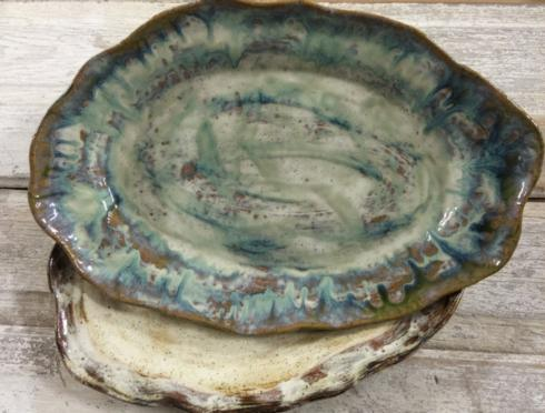 Etta B Pottery   Platter Grand Oval - Opal Blue $172.50