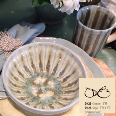 Good Earth Pottery  Teal Sugar Bowl - Covered $54.00
