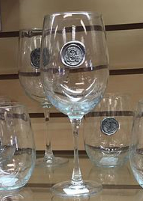 $18.50 Wine Glass with Initial