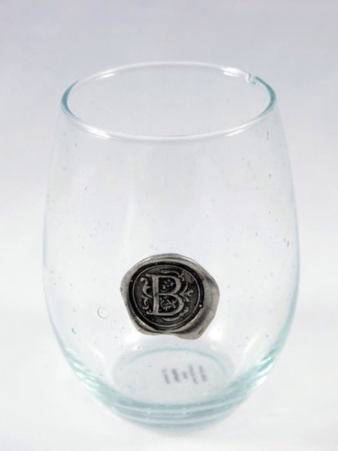 $16.50 Stemless Wine Glass with Initial