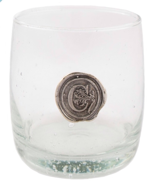 $16.50 Double Old Fashion Glass with Initial