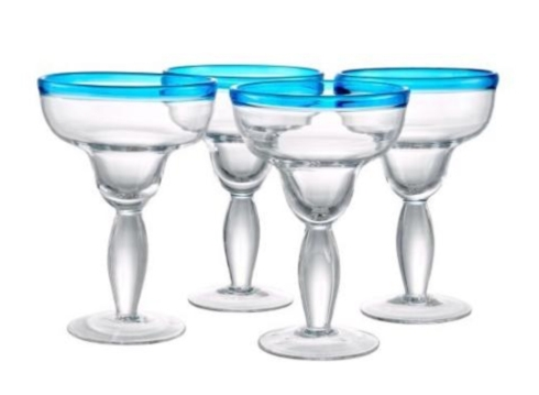 $11.50 Margarita Glass Peacock Blue